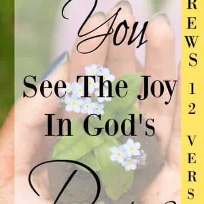 Did you know that there is joy in God's discipline? Join me as we walk through the Bible and look at some verses that teach us about this Joy. You will be glad you did!